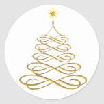 Gold Stylised Christmas Tree Stickers