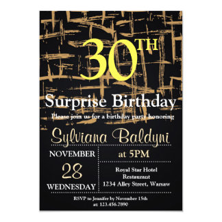 GOLD STYLISH SURPRISE BIRTHDAY PARTY CARD