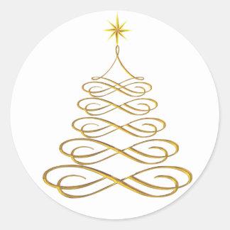 Gold Stylized Christmas Tree Stickers