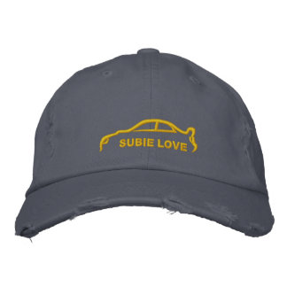 Gold Subie Love Silhouette Stitch Embroidered Hat