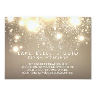 "Gold Subtle Glitter Bokeh Information Card 4.5"" X 6.25"" Invitation Card"