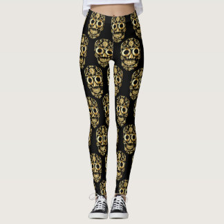 gold sugar skull leggings