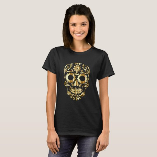Gold Sugar Skull on Black T-Shirt