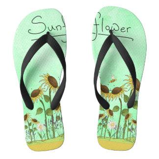 Gold Summer Sunflower Illustration on Mint Green Flip Flops
