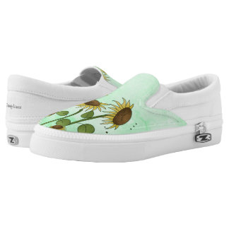 Gold Summer Sunflower Illustration on Mint Green Printed Shoes
