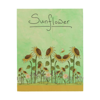 Gold Summer Sunflower Illustration on Mint Green Wood Prints