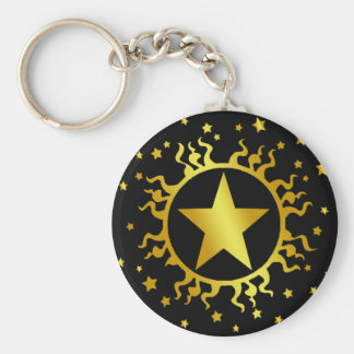 GOLD SUN AND STARS BASIC ROUND BUTTON KEY RING