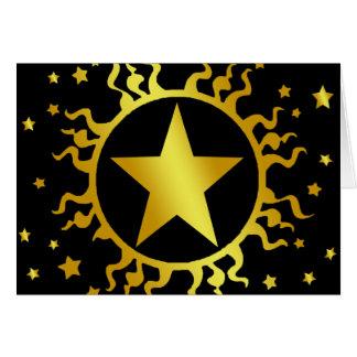 GOLD SUN AND STARS CARD