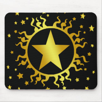 GOLD SUN AND STARS MOUSE PAD