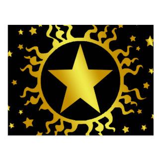 GOLD SUN AND STARS POSTCARD