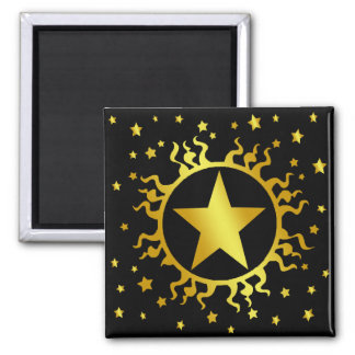 GOLD SUN AND STARS SQUARE MAGNET