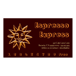 Gold Sun Coffee Drink Punch / Loyalty Card Pack Of Standard Business Cards
