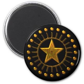 GOLD SUN STAR 6 CM ROUND MAGNET