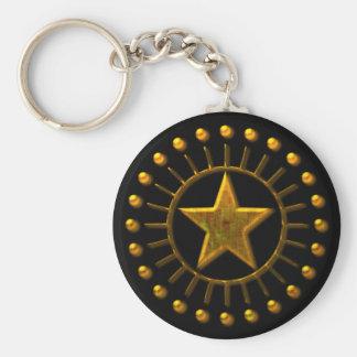 GOLD SUN STAR BASIC ROUND BUTTON KEY RING