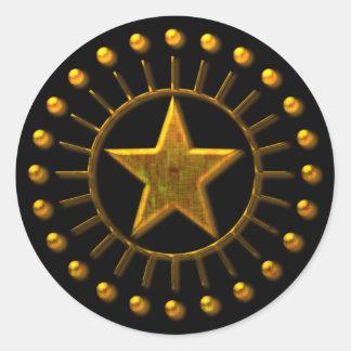GOLD SUN STAR ROUND STICKER