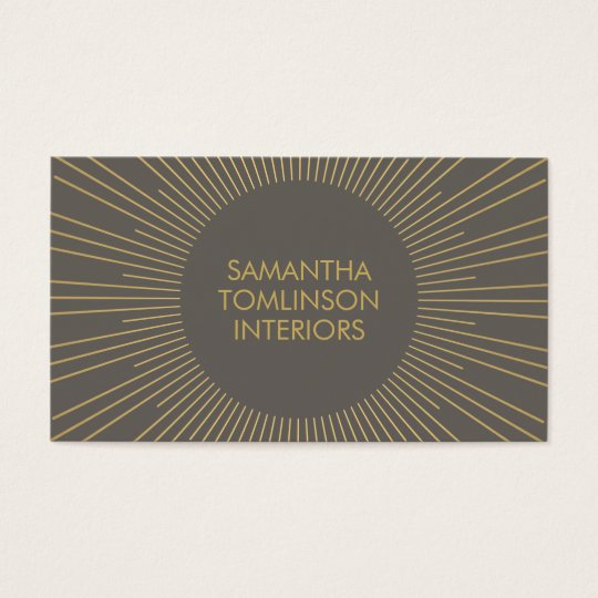 Gold Sunburst on Taupe Interior Designer Business Card