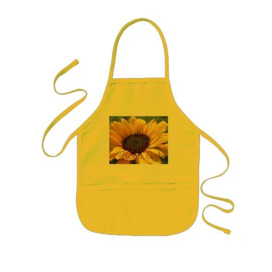 """Gold Sunflower """"Flower Girl"""" Kids Apron"""