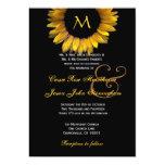 Gold Sunflower Wedding Custom Monogram 13 Cm X 18 Cm Invitation Card