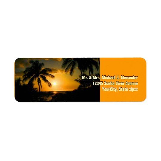 Gold Sunset at Tropical Beach Return Address Label