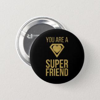 Gold Superhero Friend Valentine Button