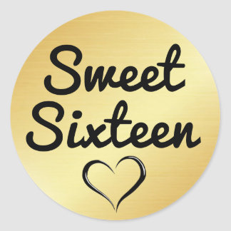 Gold Sweet Sixteen Sticker with Heart
