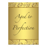 Gold Swirl Aged to Perfection Birthday Party Custom Announcement