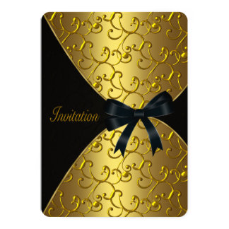 Gold Swirl Birthday Party Card