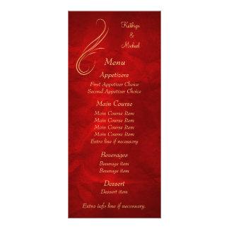 Gold Swirl Bright Red Wedding Menu Full Color Rack Card