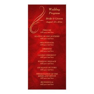 Gold Swirl Bright Red Wedding Program Personalised Rack Card