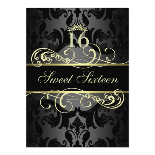 Gold Swirl Damask Sweet16 Birthday Invite