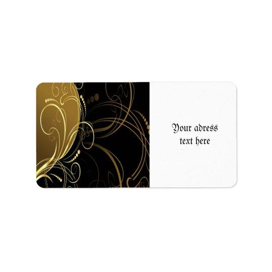 gold swirl,floral,black,chic,modern,design,elegant label