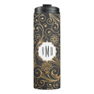 Gold swirl floral chalkboard monogram thermal tumbler
