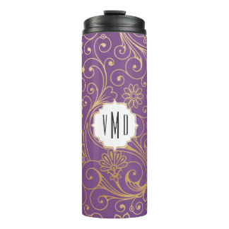 Gold swirl floral purple monogram thermal tumbler
