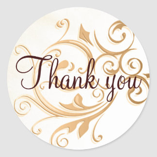 Gold Swirl Thank You Sticker - Seal