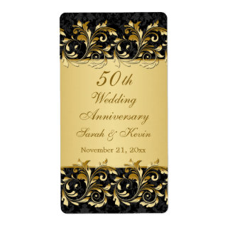 Gold swirls 50th Wedding Anniversary Wine Shipping Label