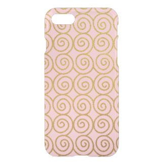 Gold Swirls and Pink iPhone 7 Phone Case