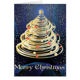 Gold Swirls Christmas Tree Christmas Card