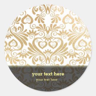 Gold swirls damask round sticker