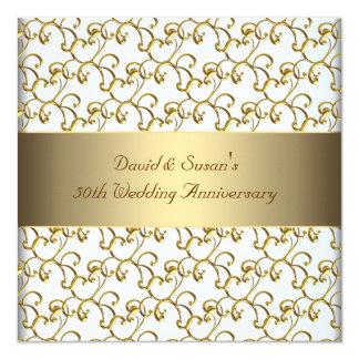 Gold Swirls Gold 50th Wedding Anniversary Party 13 Cm X 13 Cm Square Invitation Card