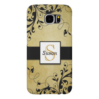 Gold Swirls Monogram Samsung Galaxy S6 Cases