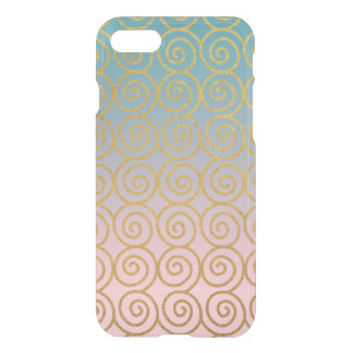 Gold Swirls w/ Teal & Pink iPhone 7 Phone Case