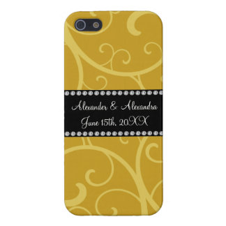 gold swirls wedding favors covers for iPhone 5
