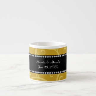 gold swirls wedding favors espresso mugs