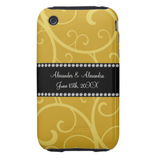gold swirls wedding favors iPhone 3 tough cover