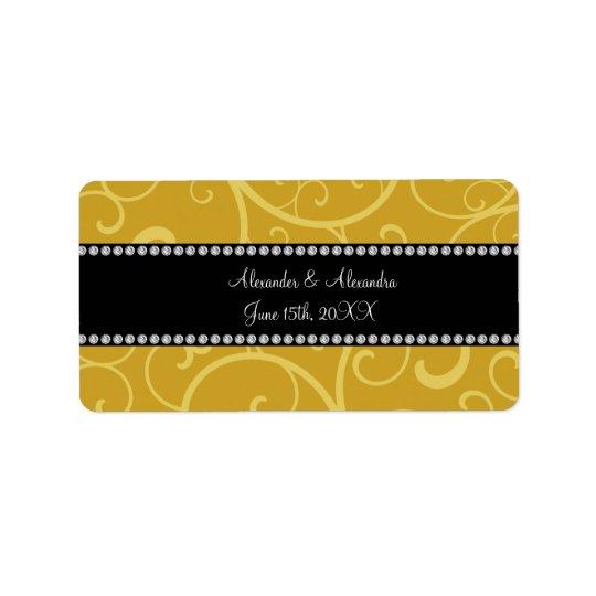 gold swirls wedding favours address label