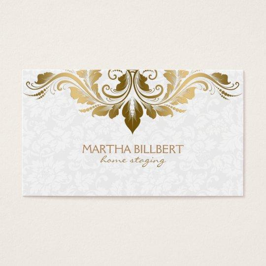 Gold Swirly Lace On Plush White Damasks Business