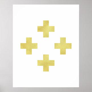 Gold Swiss cross art print Modern minimalist foil