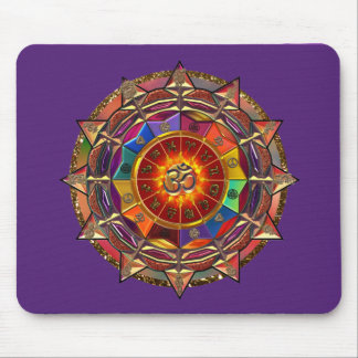 Gold Symbolic Sun Mandala Mouse Mat