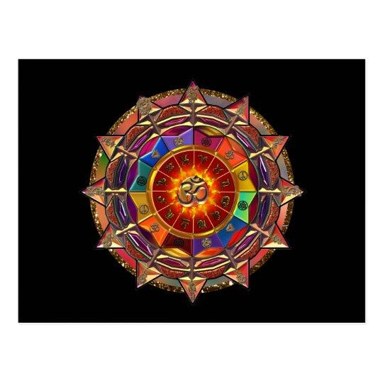 Gold Symbolic Sun Mandala Postcard