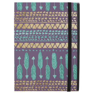 "Gold Teal and Purple Arrows Tribal Aztec Pattern iPad Pro 12.9"" Case"